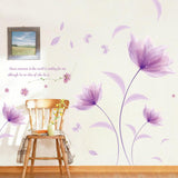 Romantic Purple flowers DIY Wall Sticker Decals Wallpaper