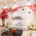 Wall Stickers couple trees Acrylic 3D Self-adhesive Art mural Decal 200x100cm