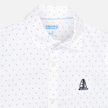 Load image into Gallery viewer, White Button Shirt Blue Detail