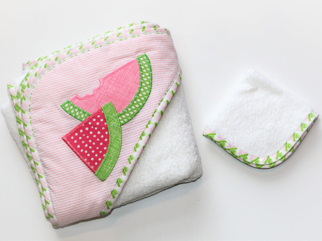 Watermelon Hooded Towel & Washcloth