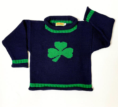 Navy Shamrock Sweater with Green Border