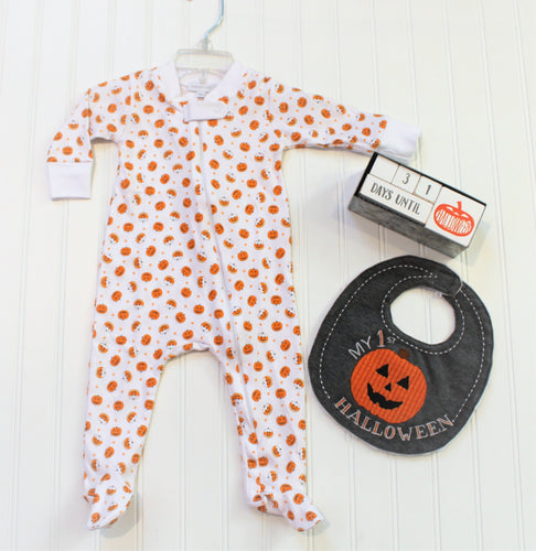 Candy Corn Pumpkin Zipped Footie