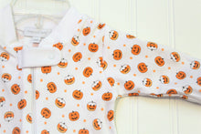 Load image into Gallery viewer, Candy Corn Pumpkin Zipped Footie