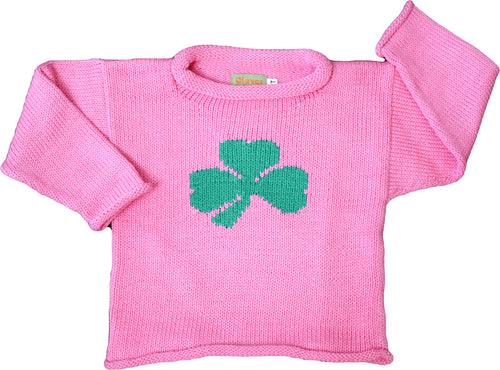Shamrock Roll Neck Sweater Pink With Single Kelly Green Shamrock