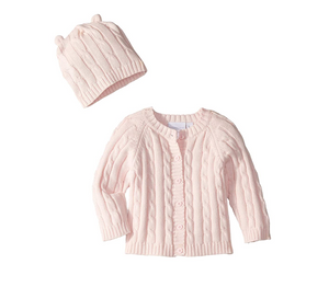 Cable Cardigan & Hat Pink