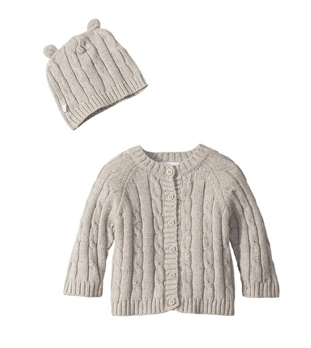 Cable Cardigan & Hat Grey