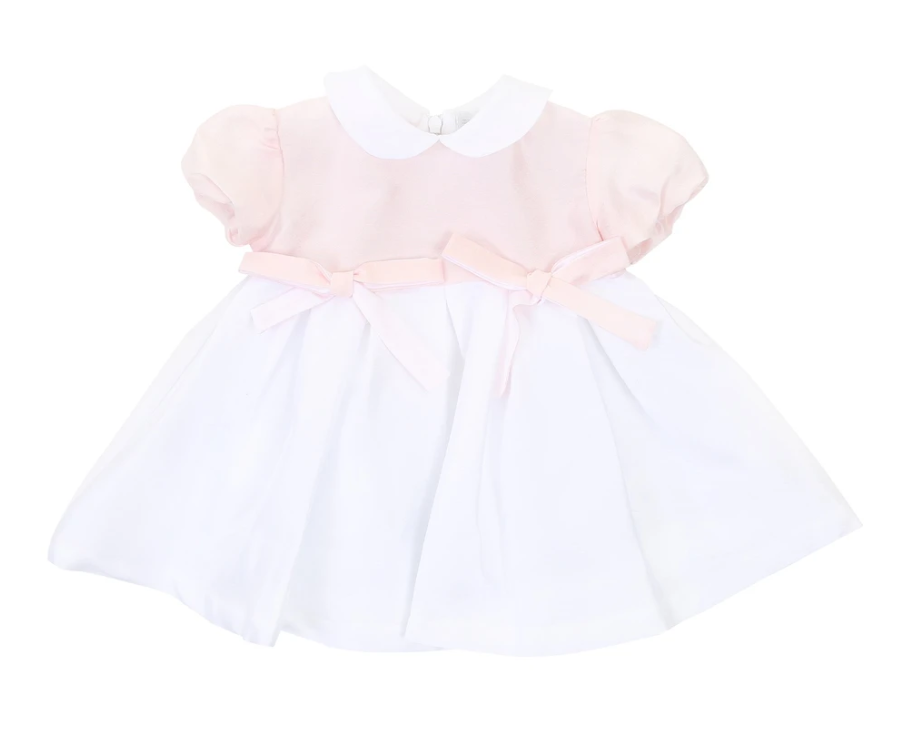 White & Pink Bow Dress