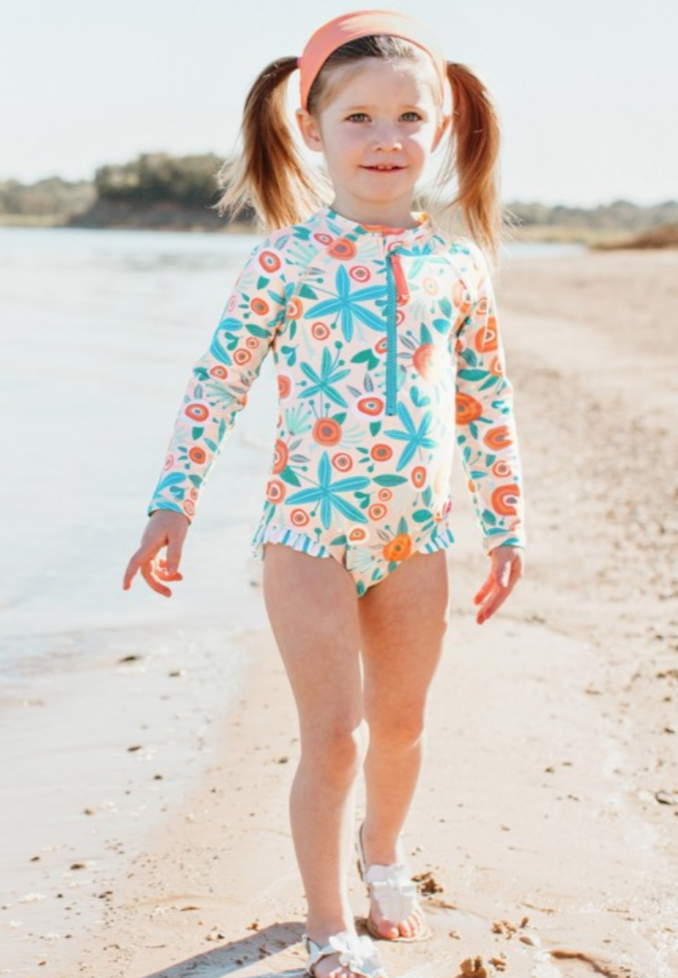 Seaside Floral Once Piece Rash Swimsuit