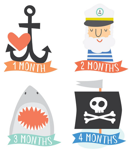 Little Captain Monthly Milestone Stickers