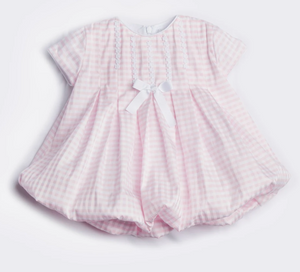 Pink & White Checked Balloon Dress