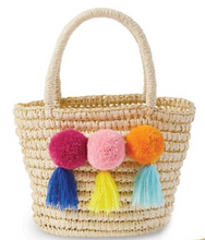 Load image into Gallery viewer, Pom Pom Straw Tote