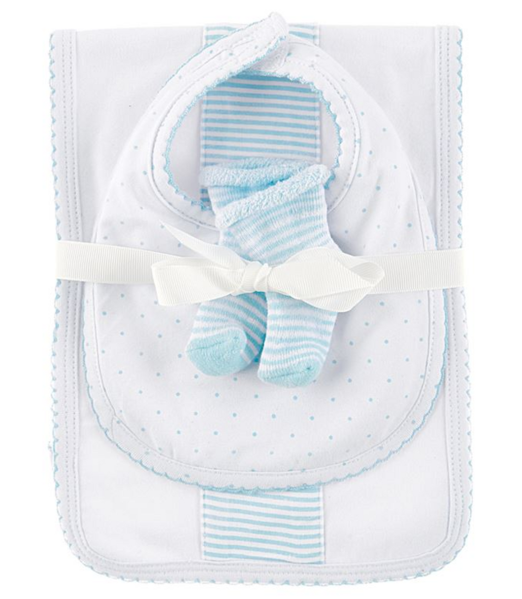 Blue Burp Bib & Sock Set