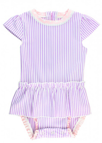 Lilac Seersucker Peplum One Piece