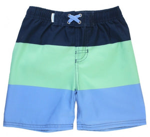 Mint & Blue Color Block Swim Trunk