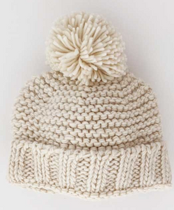 Natural Latte Pom Pom Hat