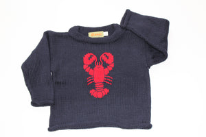 Lobster Roll Neck Sweater - Navy