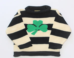 Shamrock Sweater - Navy & Ivory Stripe Single Shamrock