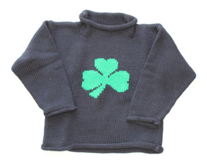 Shamrock Sweater - Navy Roll Neck Single Shamrock