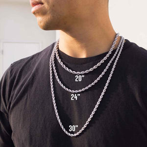 Kannabling rope chain necklace size chart