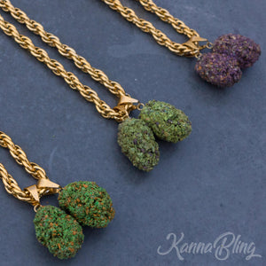Marijuana Weed Cannabis Double Nug Necklace Jewelry