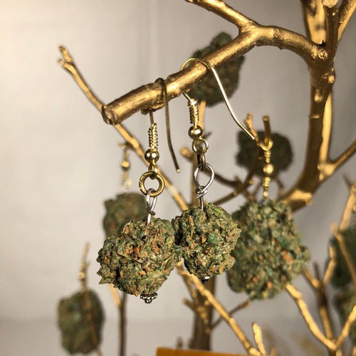 KannaBling - Marijuana Bud on Fish Hooks Earrings