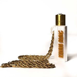 "KannaBling - Clipper Lighter Holder Gold Rope Chain Necklace 30"" (White)"