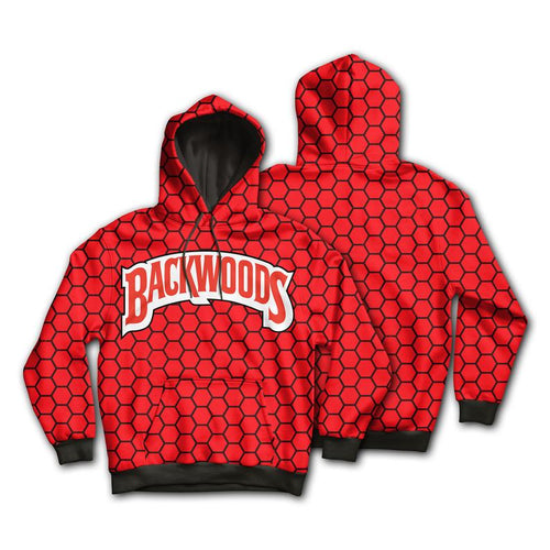 KannaBling - Backwoods Hoodie Red n Black Honeycomb Sweatshirt