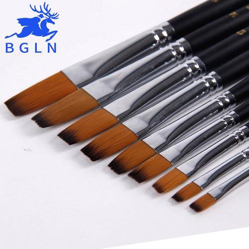 BGLN 9 Pcs Flat Head Long Handle Paint Brush Set