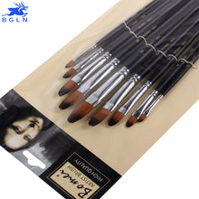 Load image into Gallery viewer, BGLN 9 Pcs Nylon Hair Round Head Paint Brush Set