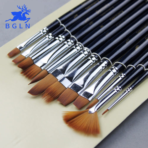 BGLN 12 Pcs Multi Shape Nylon Hair Paint Brush Set