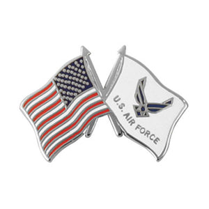 Air Force Wings Crossed Flag Lapel Pin