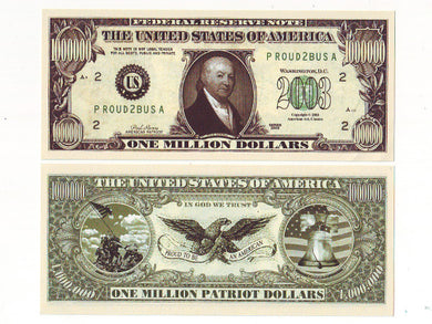 Patriot One Million Dollar bill - set of 2