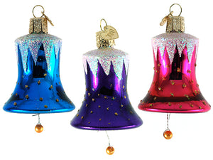 Bells of Freedom ornaments: set of 3 - fuchia, blue and purple