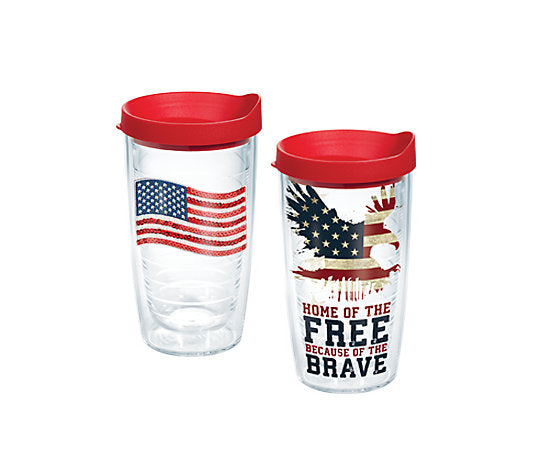 Sequin Flag and Home of the Free Tervis tumbler - 2 pack