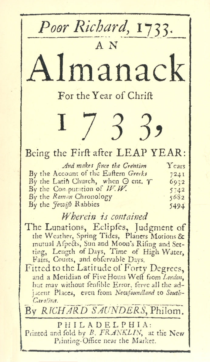 Poor Richard's Almanack for 1733