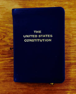 Leather-Bound Constitution and Declaration, shirt pocket-sized - Navy Blue