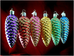 Shimmering Cones ornament set