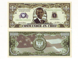 One Million Obama Dollar bill - set of 2