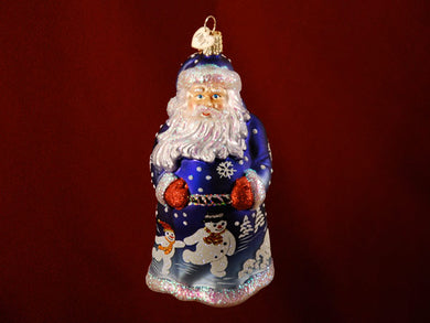 Glistening Jolly Santa ornament