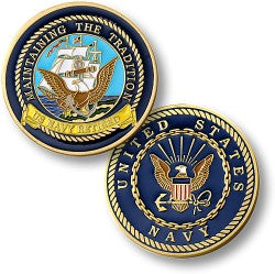 Navy retired coin