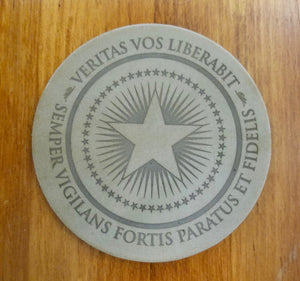 Patriot Post Seal leather coaster