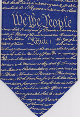 We the People tie - blue with gold