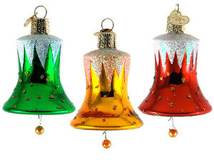 Bells of Freedom ornaments: set of 3 - red, gold and green