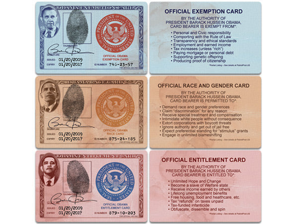 Obama Entitlement / Race / Exemption wallet cards