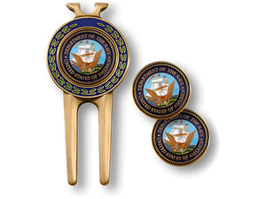 Navy Divot Tool and Ball Marker Set