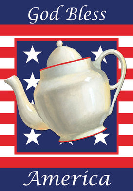 God Bless America Teapot Garden Flag
