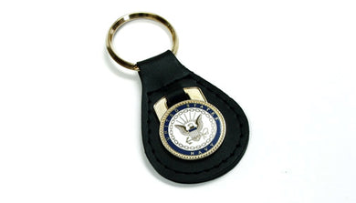 Navy leather keychain