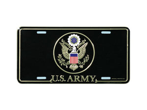Army Emblem license plate - black