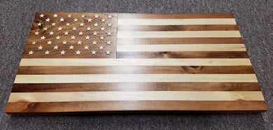 Veteran-Made Wooden Flag - natural woodgrain