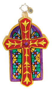 Radko Chapel Luminance cross ornament